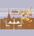 autumn cityscape street cafe vector image vector image