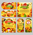 autumn holiday gift tag thanksgiving poster set vector image vector image