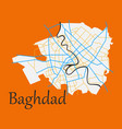 baghdad city map - iraq flat isolated on vector image vector image