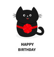 black cat icon with round red bow cute funny vector image vector image