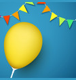 blue festive background with yellow balloon and vector image vector image