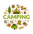 camping banner template with hiking equipment of vector image vector image