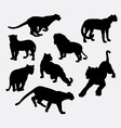 Cheetah panther wild animal silhouette vector image