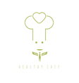 chef with fork and leaves design template vector image vector image