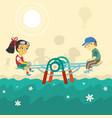 children on swing vector image vector image