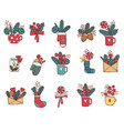 christmas icon set in color doodle vector image vector image