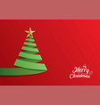 christmas tree paper art greeting card design vector image vector image