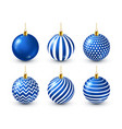 christmas tree shiny blue balls set new year vector image