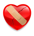 Cracked red heart with plaster vector image