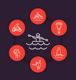 extreme outdoor activities line icons vector image vector image