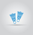 flippers isolated blue icon vector image