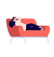 girl listens music on sofa happy teenager vector image
