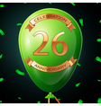 Green balloon with golden inscription twenty six vector image vector image
