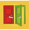hand drawn pop art of doors Open and closed door vector image vector image