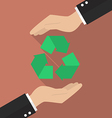Hands holding recycle icon vector image vector image