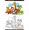 happy animal characters group color book vector image vector image