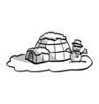 igloo with snowman sketch hand vector image