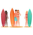man and woman surfer standing holding a surfboard vector image vector image