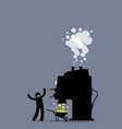 man with a gold making machine the person vector image