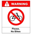 No bicycle sign No bikes symbol for public places vector image vector image