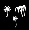 palm trees icon set isolated on black background vector image