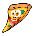 Pizza with face on white vector image vector image