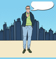 pop art man with microphone male tv reporter vector image vector image