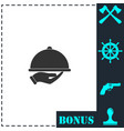 restaurant cloche in hand icon flat vector image