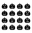 set black halloween pumpkins vector image