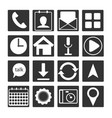 set of 16 black white flat mobile app icon outlin vector image