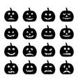 set of black halloween pumpkins vector image vector image