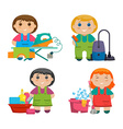 Set of four cartoon girls making cleaning the vector image