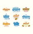 set of typographic label for milk yogurt peanut vector image vector image