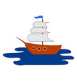 ship on open sea on white background vector image vector image