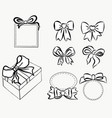 sketch gift bows hand drawn graphic elements for vector image
