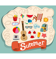 Summer theme with beach objects vector image