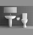 toilet room with washbasin realistic mockup vector image vector image