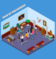 tour of museum isometric composition vector image vector image