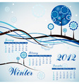 tree winter calendar 2012 vector image