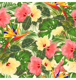 tropical flowers seamless texture hibiscus vector image vector image