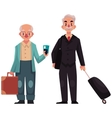Two old senior men with suitcases in airport vector image vector image
