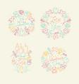 valentines day flat monograms beige vector image vector image