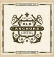 vintage old anchors label vector image vector image