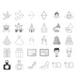 wedding and attributes monochromeoutline icons in vector image
