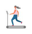 woman on treadmill gym workout and jogging sport vector image