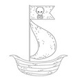 wooden sailboat with pirate flag vector image
