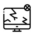 wrecked screen icon outline vector image vector image
