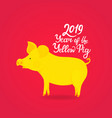 year of the yellow pig 2019 hand drawn text vector image vector image