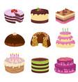 birthday party tasty cakes anniversary vector image