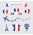 French flag and map icons set Eiffel Tower icon vector image